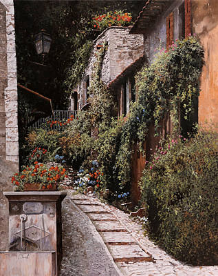 Fountain Painting - La Fontanella by Guido Borelli