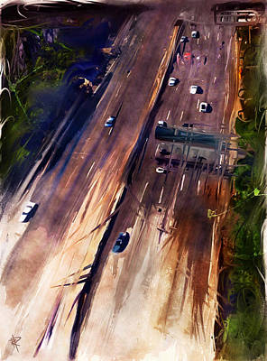 Mixed Media - La Freeway by Russell Pierce
