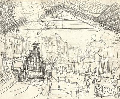 Etching Drawing - La Gare Saint Lazare by Claude Monet