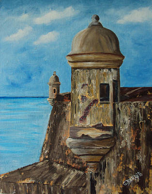 Old San Juan Painting - La Garita  by Gloria E Barreto-Rodriguez