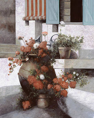Still Life Royalty-Free and Rights-Managed Images - La Giara E I Fiori Rossi by Guido Borelli