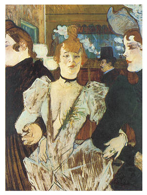 Moulin Rouge Painting - La Goulue Arriving At The Moulin Rouge With Two Women by Henri De Toulouse-Lautrec