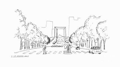 Long Street Drawing - La Grande Arch by Steven Tomadakis