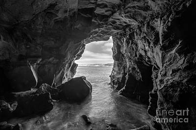 La Jolla Cave Bw Art Print by Michael Ver Sprill