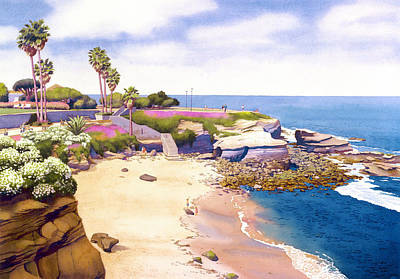 Beach Scene Painting - La Jolla Cove by Mary Helmreich