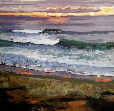 Longboard Painting - La Jolla Ocean Surf Sunset Waves by Lynn Grayson