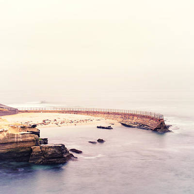 La Jolla Seawall Square Art Print by Tanya Harrison