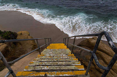 Surf Photograph - La Jolla Stairs 2 by John Daly