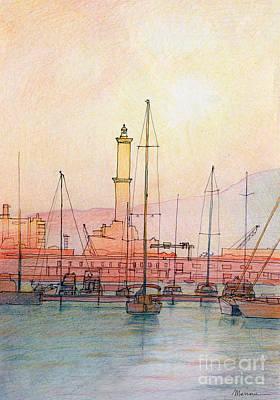 Genoa Drawing - La Lanterna Di Genova by Luca Massone