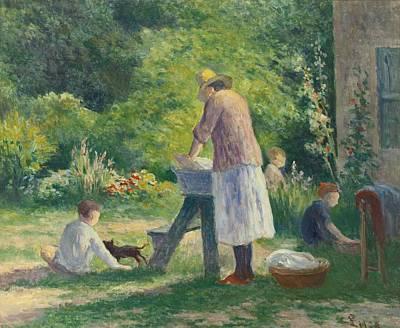 Lessive Painting - La Lessive Au Jardin by Celestial Images