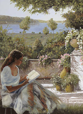 Poetry Painting - La Lettura All'ombra by Guido Borelli