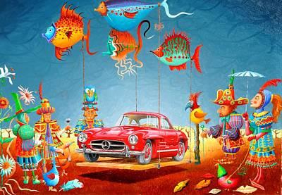 Sportscar Painting - La Livraison A Domicile by MICHAUX Michel