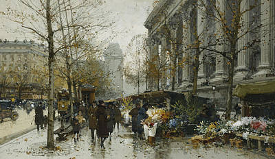 Commuters Painting - La Madelaine Paris by Eugene Galien-Laloue