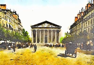 Paris Skyline Royalty-Free and Rights-Managed Images - La Madeleine 1890 by Helge