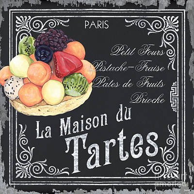 Signed . Nature Painting - La Maison Du Tartes by Debbie DeWitt