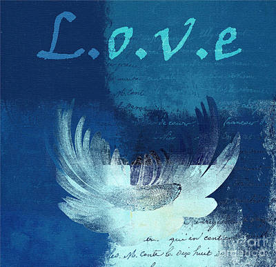 Digital Art - La Marguerite - Love Blue 01 by Variance Collections