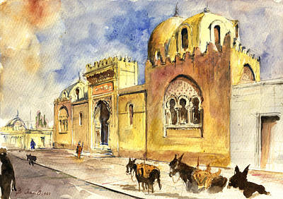 Mosque Painting - La Medersa School Casbah by Juan  Bosco