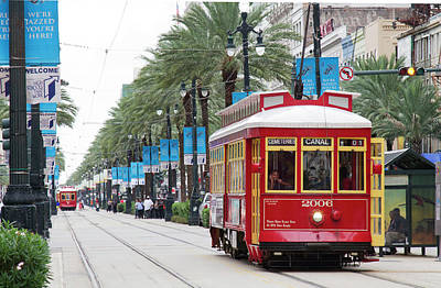 La, New Orleans, Canal Street Trolley Art Print by Jamie and Judy Wild