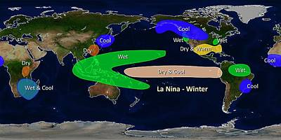 Extreme Weather Photograph - La Nina Winter Effects by Noaa