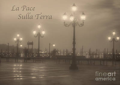 Photograph - La Pace Sulla Terra With Venice Lights by Prints of Italy