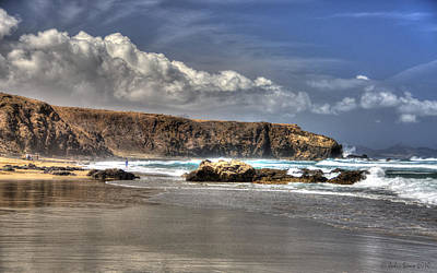 Art Print featuring the photograph La Pared Cliff And Rocky Beach On Fuertaventura Island by Julis Simo