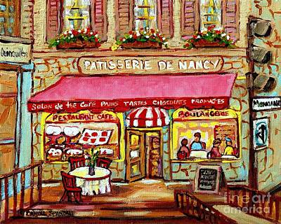 Montreal Streets Painting - La Patisserie De Nancy French Pastry Boulangerie Paris Style Sidewalk Cafe Paintings Cityscene Art C by Carole Spandau