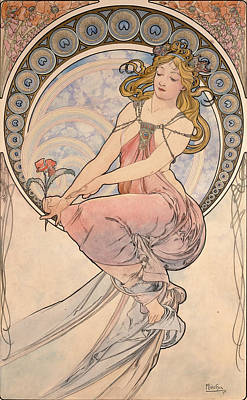 Watercolour Photograph - La Peinture, 1898 Watercolour On Card by Alphonse Marie Mucha