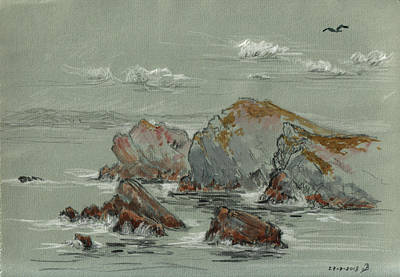 Gull Wall Art - Painting - La Penyona Seascape by Juan  Bosco