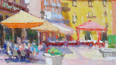 Lake Como Painting - La Piazza by Jerry Fresia