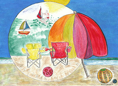 La Plage / The Beach Art Print by Dominique Fortier