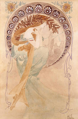 La Poesie,  Watercolour On Paper Art Print by Alphonse Marie Mucha