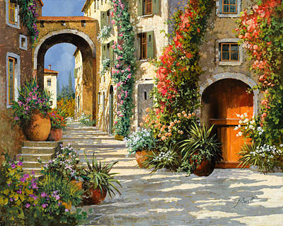 Red Flower Wall Art - Painting - La Porta Rossa Sulla Salita by Guido Borelli