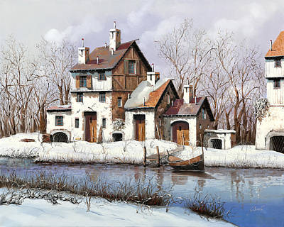 La Prima Neve Art Print by Guido Borelli