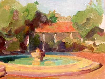 California Missions Painting - La Purisima Mission Fountain by Karla Bartholomew