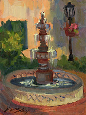 Light And Shadow Painting - La Quinta Resort Fountain by Diane McClary