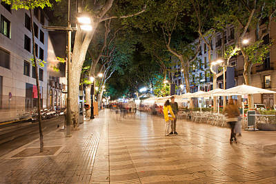 La Rambla At Night  In Barcelona Art Print