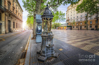 Photograph - La Rambla Fountain  by Yhun Suarez