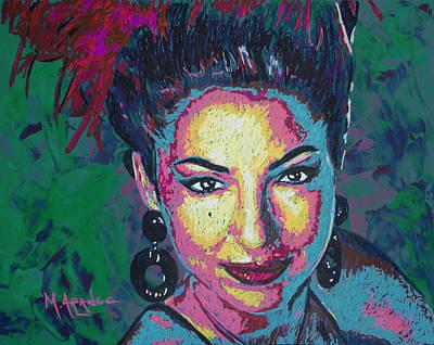 Fan Art Painting - La Reina De Miami by Maria Arango