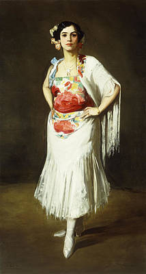Shawl Painting - La Reina Mora by Robert Henri