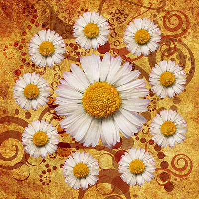 Daisy Digital Art - La Ronde Des Marguerites 0101a by Variance Collections
