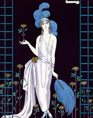 Ostrich Painting - 'la Roseraie' Fashion Design For An Evening Dress By The House Of Worth by Georges Barbier