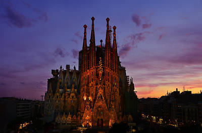 Photograph - La Sagrada Familia At Sunset by Jack Daulton