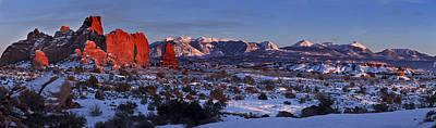 Snow Scene Landscape Digital Art - La Sal Alpenglow by Jacob W Frank