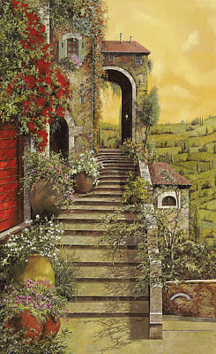 Red Sky Wall Art - Painting - La Scala Grande by Guido Borelli