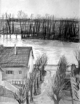 Drawing - La Seine At Herblay by Mark Lunde