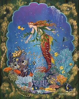 Angel Mermaids Ocean Painting - La Sirena by Sue Betanzos
