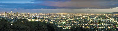 Photograph - L.a. Skyline Cityscape Night Dusk Wide Panorama Los Angeles Ca Cityscape Night Dusk Lit by David Zanzinger