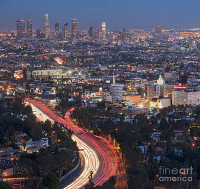 Photograph - L.a. Skyline Dusk Lit Beautiful Los Angeles Ca 2 by David Zanzinger
