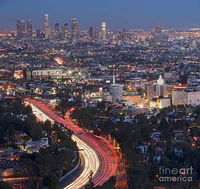 L.a. Skyline Dusk Lit Beautiful Los Angeles Ca 2 Original by David Zanzinger