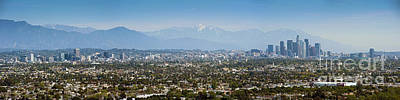 Photograph - La Skyline From Downtown To Century City San Bernardino Mountains by David Zanzinger